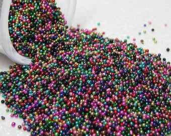 micro marbles .75mm art mix metallic half ounce / 14 grams glass microbead miniature kawaii sprinkles Supplies