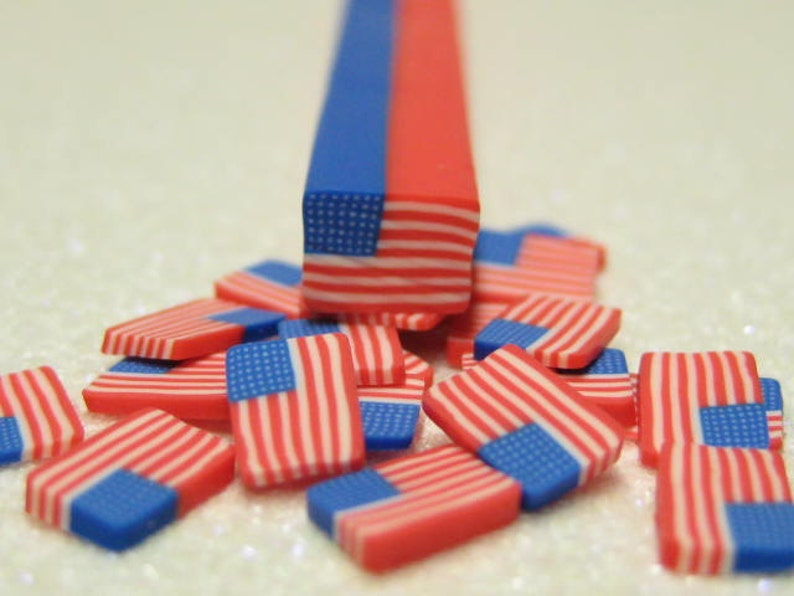 uncut polymer clay cane American Flag 1pc for miniature foods image 0
