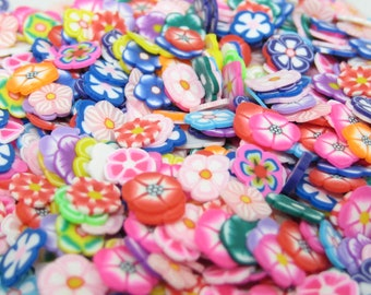 Polymer clay flower slices for miniature fairy garden supply decoden and kawaii nail art pink blue yellow red orange purple green brown