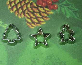 playscale miniature holiday cookie cutters 3pcs for polymer clay - star tree gingerbread man mini Christmas cookies 1:6 scale