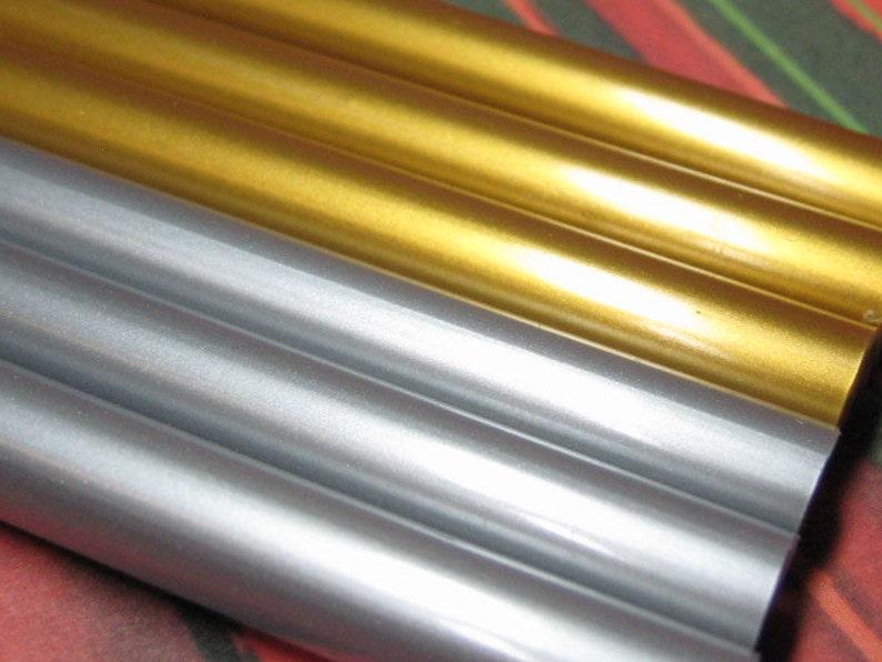 hot glue sticks gold and silver metallic 6pc kawaii opaque image 0
