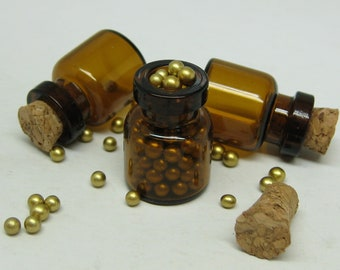 DIY miniature potion bottles 3pcs amber glass vials with corks tiny dollhouse jars 18mm x 13mm .06ml herbal apothecary