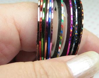 Striping tape set 10 rolls .7mm mixed metallic and laser self adhesive