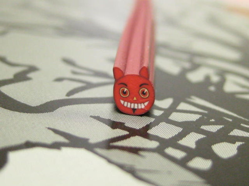 Lil Devil Polymer clay cane uncut 1pc for kawaii deco decoden image 0
