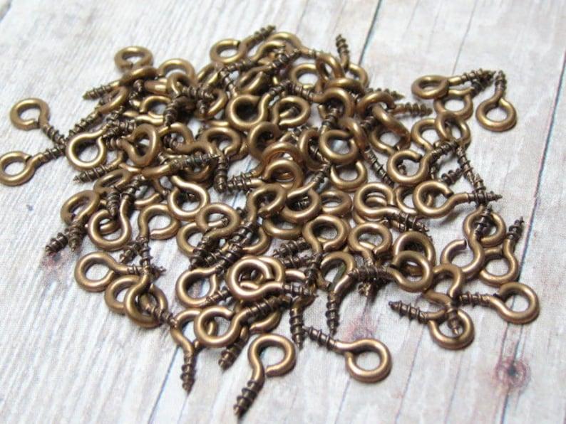 eye screws antiqued copper tone 8mm x 4mm connectors 100 pcs image 0