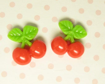 Cherry cabochons red fruit miniature flatback resin bunch 17mm x 7.5mm