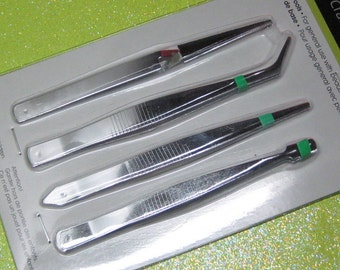 tweezer set 4 piece straight angled broad and reverse action for miniatures modeling beading and craft projects