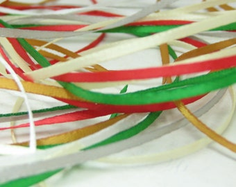 Christmas ribbons 2mm narrow 1/16 inch satin flat double sided 6 yards thin miniature dollhouse size red green white cream gold holiday