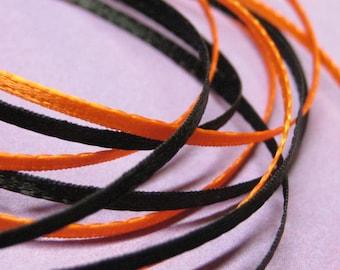 ribbon 2mm narrow 1/16 inch satin flat double sided orange & black 2 yards thin miniature dollhouse size halloween