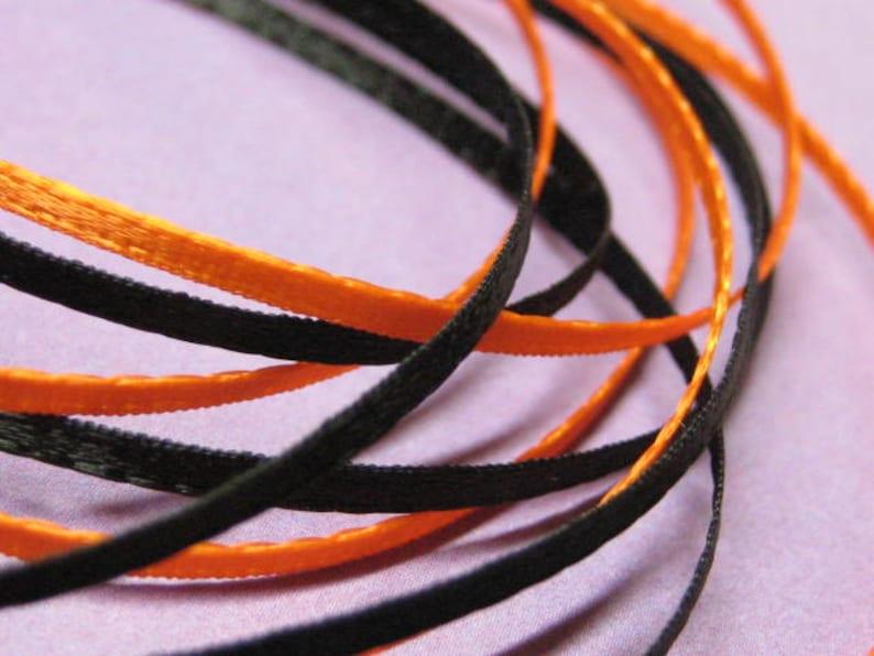ribbon 2mm narrow 1/16 inch satin flat double sided orange & image 0