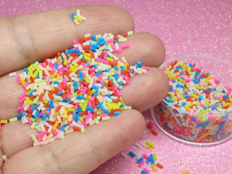 Funfetti decoden sprinkles 10 grams polymer clay miniature image 0