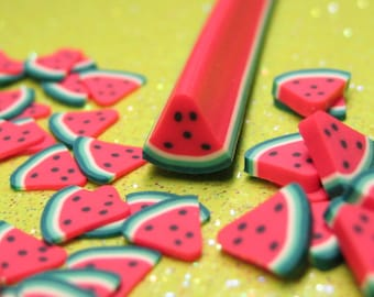 Watermelon polymer clay cane fruit wedge uncut 1pcs red miniature foods desserts kawaii deco crafts decoden nail art supplies DIY slices
