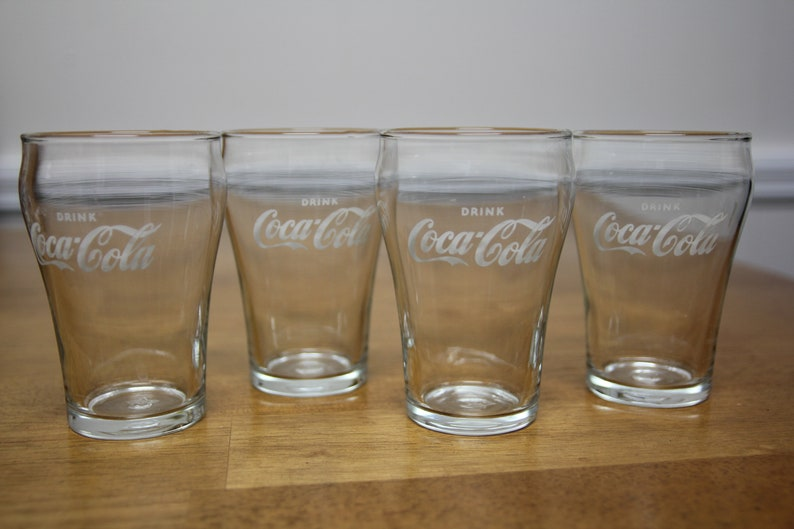 Set of 4 Vintage 50s-60s Enjoy Coca-Cola Glasses HT White Star Bell Shaped by Libbey