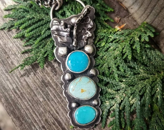 Handmade Triple Turquoise Necklace with Leaves, Sterling Turquoise Statement Pendant