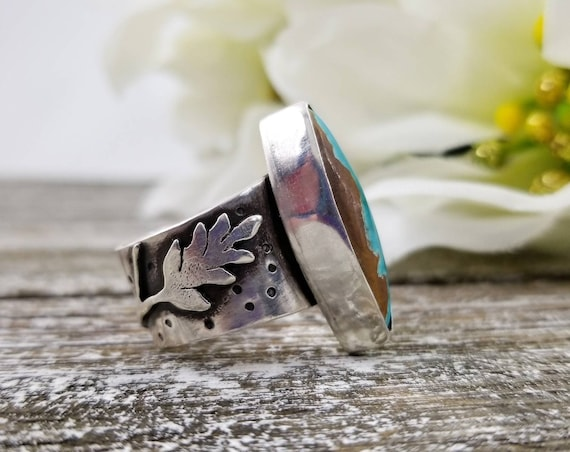 Size 7.25 Royston Ribbon Ring, Sterling Silver Turquoise Statement Ring