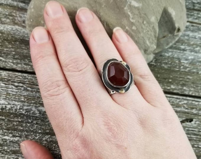 Size 8 Carnelian Poinsettia Ring, Faceted Statement Ring
