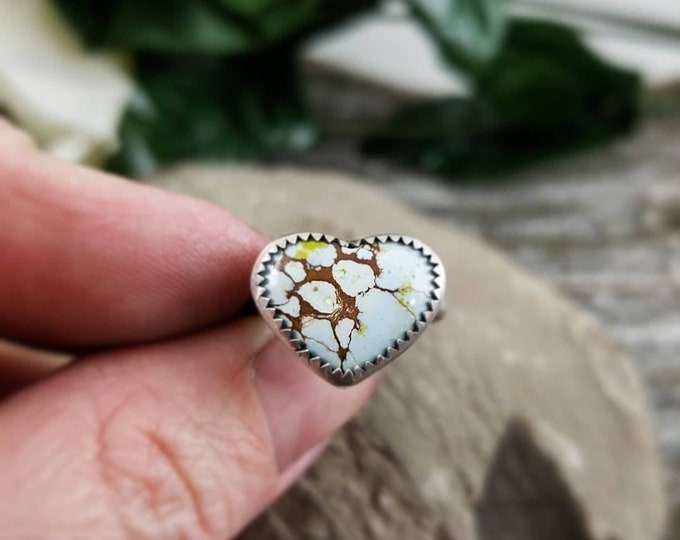 Handmade Gobi Desert Turquoise Heart Ring, Sterling Silver Turquoise Statement Heart Ring