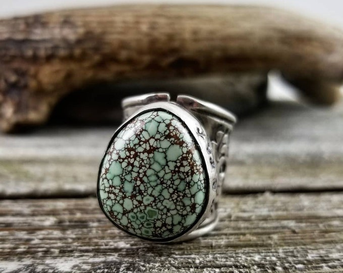 Size 8 Turquoise Ring, Free Spirit Treasure Mountain Ring, Sterling Silver Stamped Statement Ring