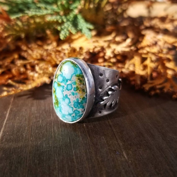 Handmade Sonora Gold Turquoise Wheat Ring, Sterling Silver Turquoise Ribbon Statement Ring