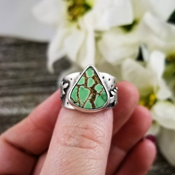 Size 8.25 Carico Lake Turquoise Ring, Sterling Silver Statement Ring