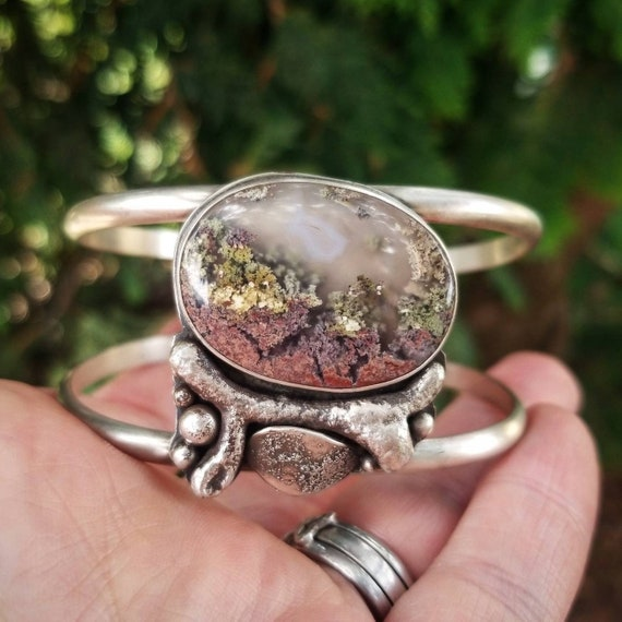 Moss Agate Cuff with Branch and Leaves Sterling Silver Statement Bracelet
