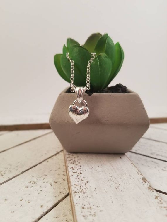 Sterling Silver Heart Necklace, Silver Heart Pendant