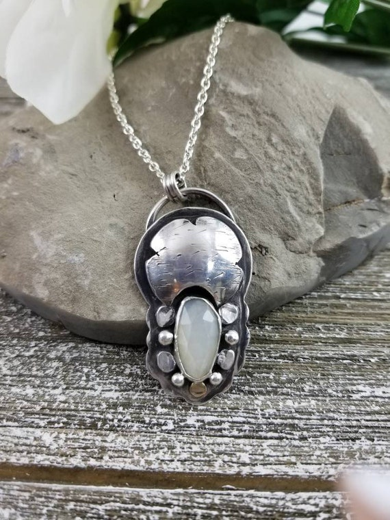 Moonstone Dreamer Necklace, Faceted Statement Pendant