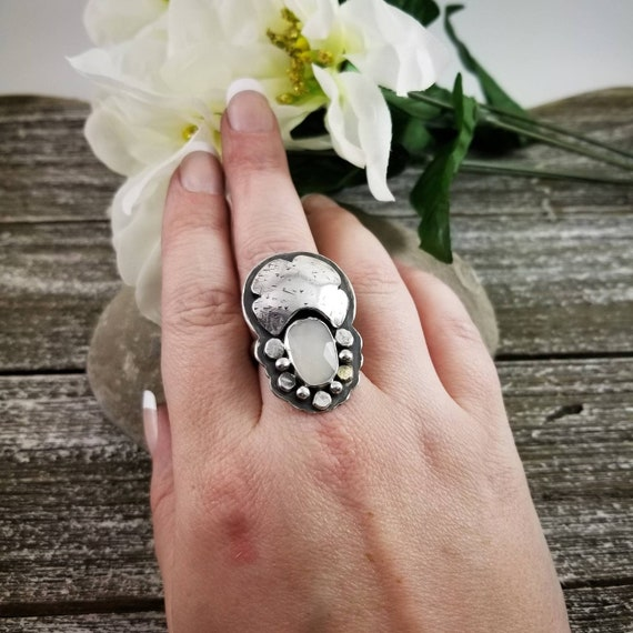 Size 8.75 Moonstone Dreamer Ring, Faceted Statement Ring