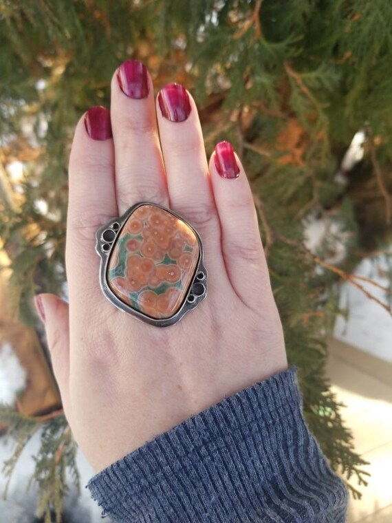 Ocean Jasper Statement Ring or Necklace Sterling Silver Jasper Ring