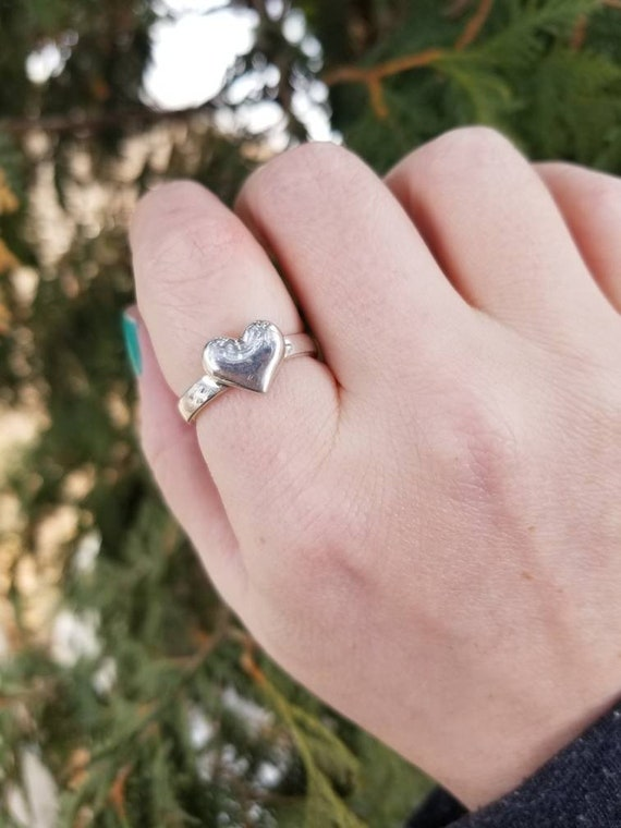 Sterling Silver Heart Ring, Silver Heart Stacker Ring