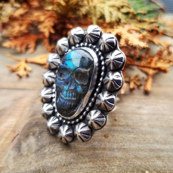 Size 6.5 Labradorite Skull Statement Ring, Sterling Silver Cluster Ring