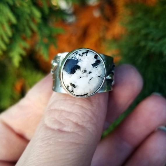 Handmade Desert Gem Wheat Ring, Sterling Silver Turquoise Ribbon Statement Ring
