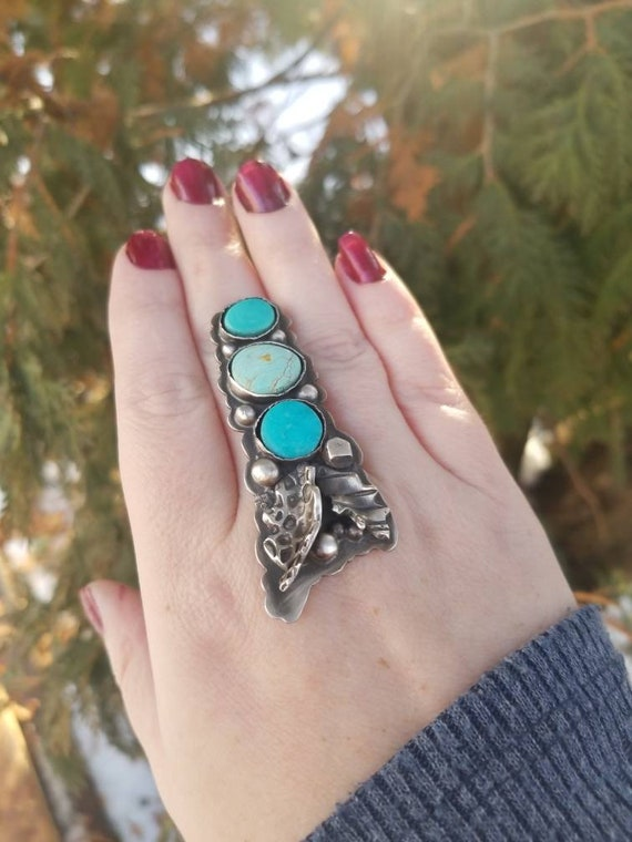 Triple Turquoise Ring with Leaves Sterling Statement Ring
