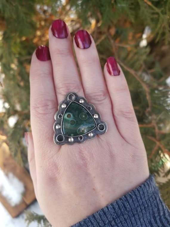 Green Ocean Jasper Statement Ring or Necklace Sterling Silver Jasper Ring