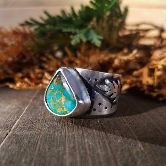 Size 8.5 Turquoise Mountain Statement Ring, Sterling Silver Green Turquoise Ring