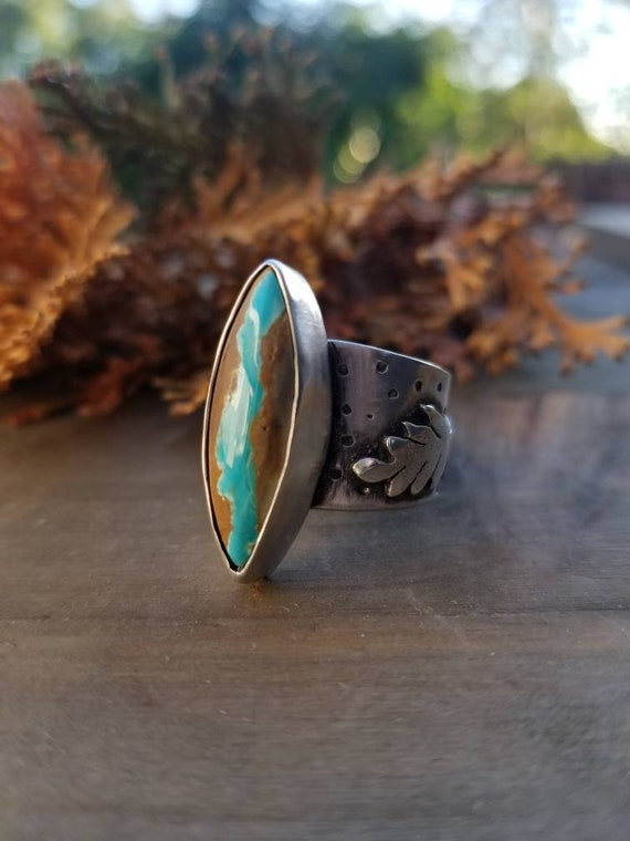 Size 6.25 Royston Ribbon Ring, Sterling Silver Turquoise Statement Ring
