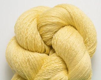 Lemon Chiffon Silk Cashmere Lace Weight Recycled Yarn, SCH00288
