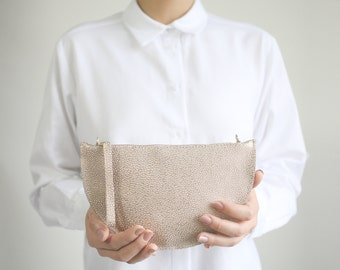Mini Half Moon Clutch and Cross Body Bag Dotted Rose Copper Leather , Bridal Bag, Leather Clutch, Evening Bag, Leather Purse
