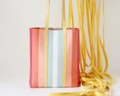 "Leather Tote ""Sorbet"", Multicolor Tote, striped leather tote bag, laptop bag, leather shopper, shoulder bag"