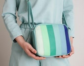 "Medium Crossbody Zip Bag ""Tropical"", striped leather purse, shoulder bag, cross body purse, colorful handbag"