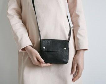 Black Mini Crossbody Purse, small leather purse, evening bag, black cross body bag