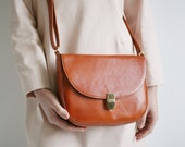 Saddle Bag Cognac Brown, crossbody buckle bag, minimalistic leather shoulder bag, cross body bag