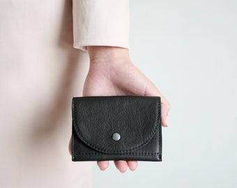 Small wallet black leather,  flat womens wallet, small  leather purse, mens wallet