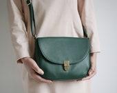 Saddle Bag Forest Green, crossbody buckle bag, minimalistic leather shoulder bag, cross body bag