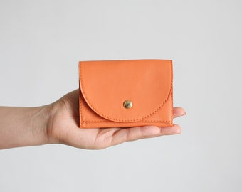 Small Wallet Tangerine, flat womens wallet, small leather purse, mens wallet