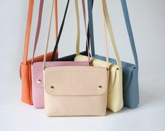 Mini Crossbody Nude, Crossbody leather purse, small handbag, bridal bag, mini shoulder bag