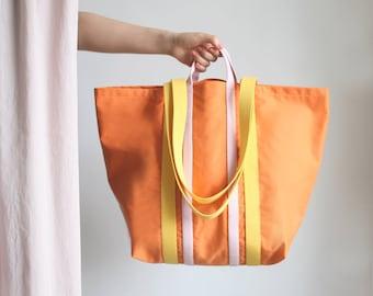 BIG Canvas Shopper Mango/Yellow/Rose, tote bag, shoulder bag, beach bag, cotton shopper