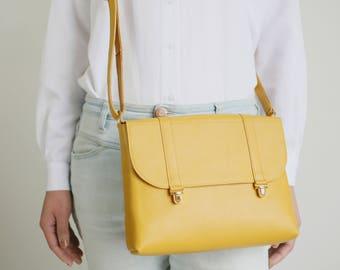 Satchel Bag Senfgelb, Ledertasche, Handtasche