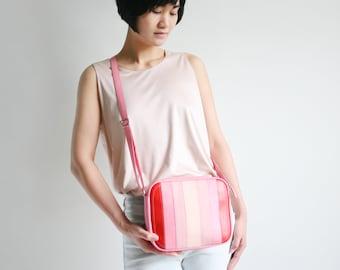 """Minimalistische Schultertasche """"Zip"""" echt Leder Rot und Rosatöne, Schultertasche, Ledertasche, Handtasche"""