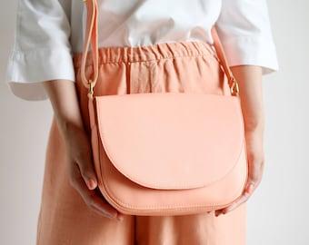 Crossbody Saddle Bag Vibrant Apricot, minimalistic shoulder bag, leather bag, crossbody purse